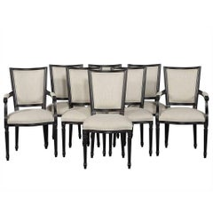 Set of Eight Louis XVI Style Black Lacquer Dining Chairs