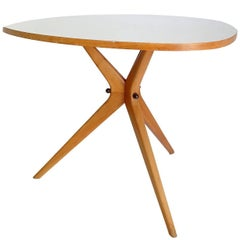 Architectonic Danish Modern Style Tripod Side Couch Table, Birch, 1953