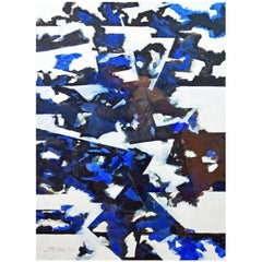 'Blue Composition' Cool Midcentury Original Abstract Oil by Ed Eller, American