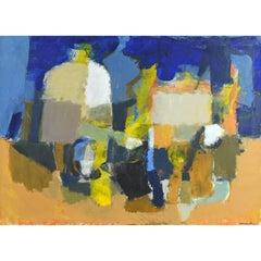Mid-Century Modern Cubist Style Still Life Original Oil by Stig Wernheden
