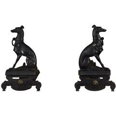 Pair of Whippet Greyhound Andirons