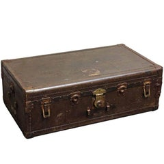 1940s French Large Brown Trunk