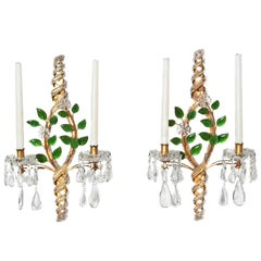 Maison Baguès Style Beaded Sconces with Green Leaves
