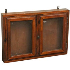 1940s French Two-Door Oak Wall Display Case with Original Patina