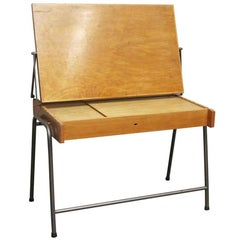 1960s French Mid-Century Modern Adjustable Drafting Table Desk