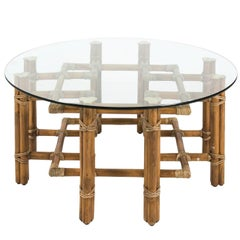 Glass and Round Bamboo Table by McGuire