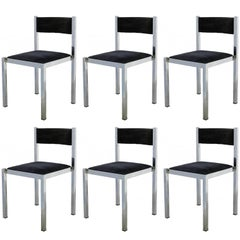 Six French Dining Chairs Midcentury Chrome