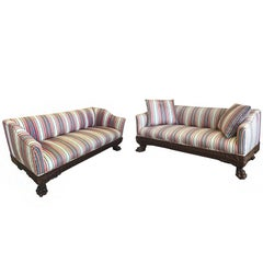 19th Century Victorian Carved Wood Sofas in Striped Silk, a Pair