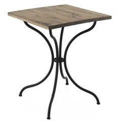 Square French Style Iron Base Table with Wood Top, Garden Table