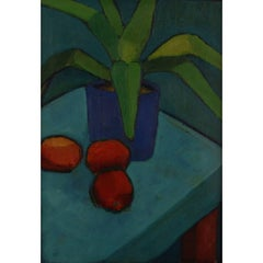 Inger Hofmeister, Listed Danish Artist, 1979 Oil on Board, Still Life with Plant