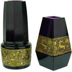 Art Nouveau Amethyst Moser Vases