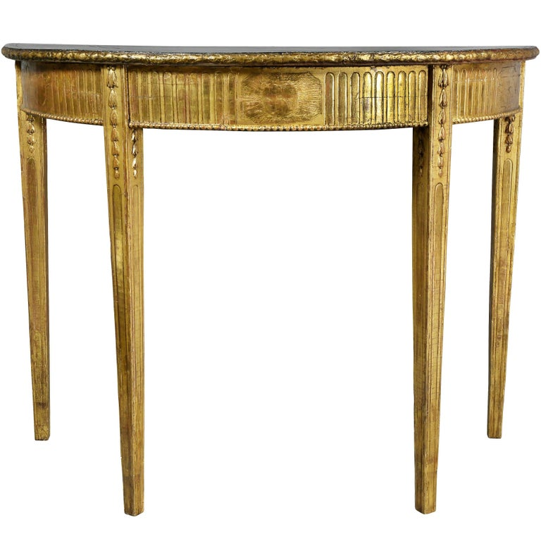 George III Giltwood Demilune Console Table