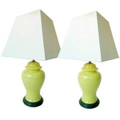 20th Century Chinese Ceramic Ginger Lamps, Pair