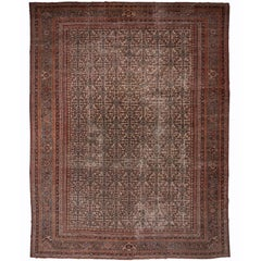 Large Antique Distressed Mahal Rug