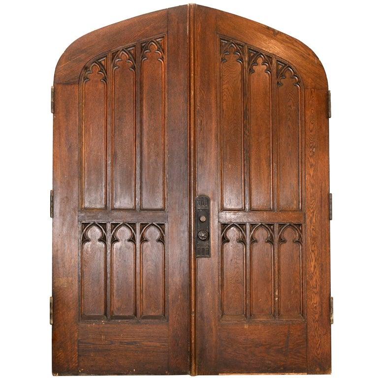 Arched Gothic Oak Double Doors