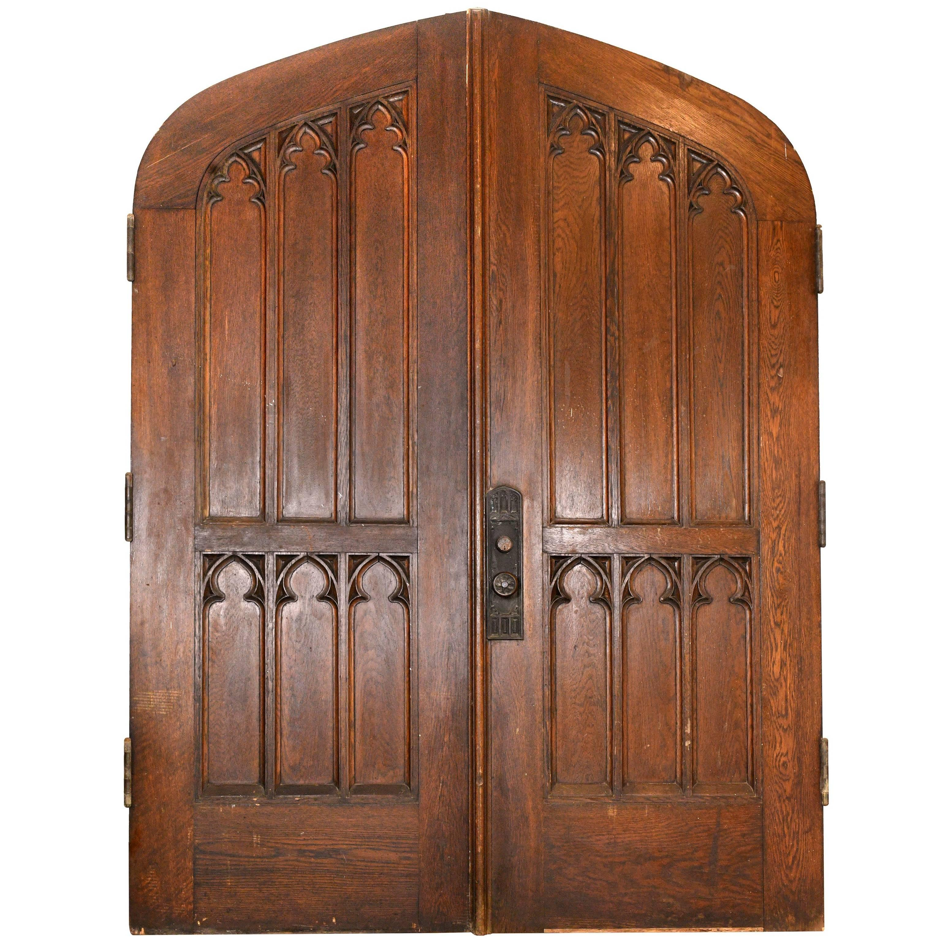 Arched Gothic Oak Double Doors For Sale