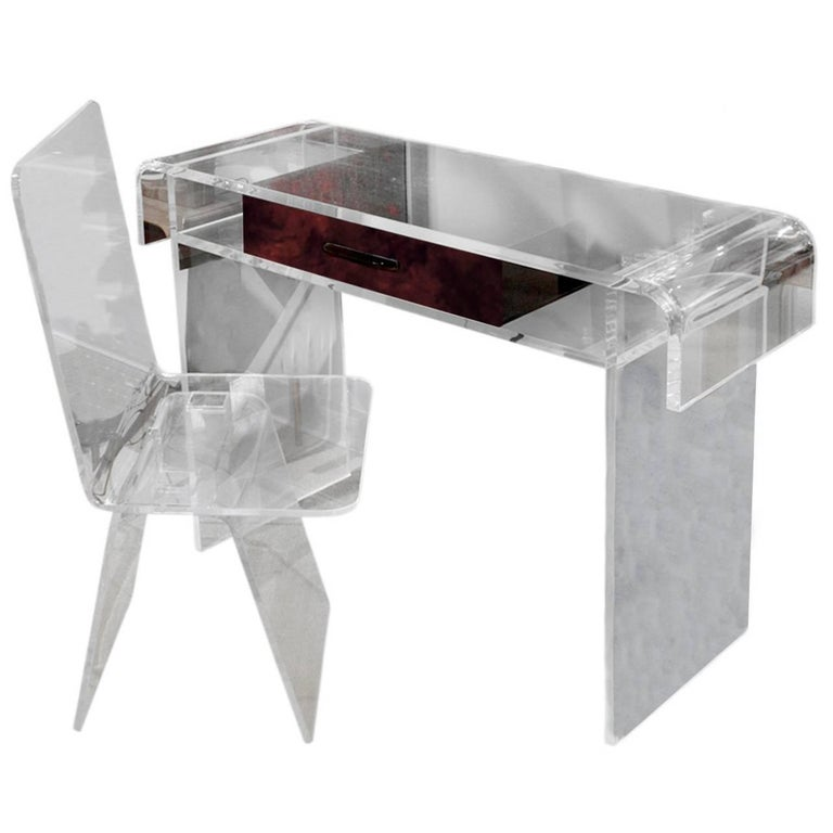 Custom Lucite Vanity with Tortishell Lucite Drawer and Chair, 1970s