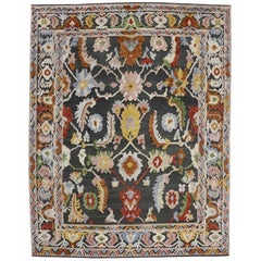 Contemporary Colorful Oushak Style Rug, High and Low Texture Rug