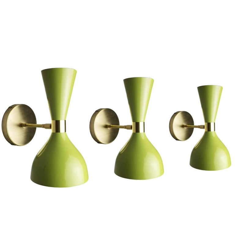 """Bronze + Green Enamel """"Ludo"""" Wall Sconce, Blueprint Lighting NYC For Sale"""