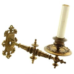1930s Single Gold over Bronze Piano Sconce with Ornate Detail
