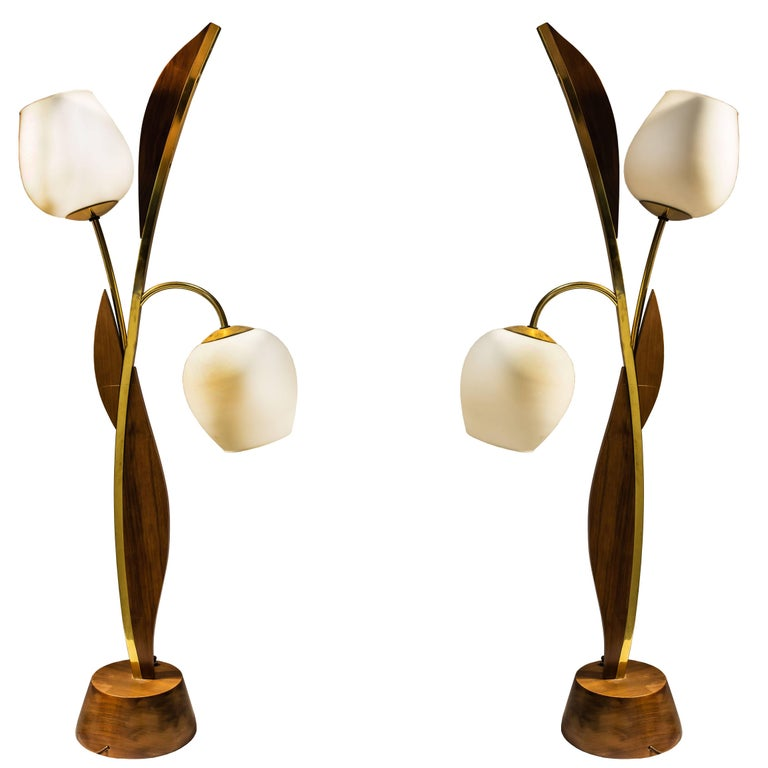 Pair of Midcentury Wood and Brass Tulip Shape Two-Light Lamps