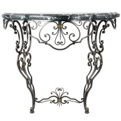 French Louis XV-Style Wrought Iron and Marble Console Table