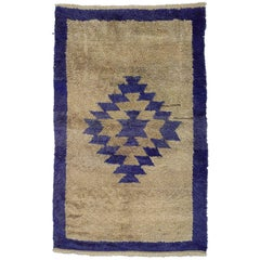 20th Century Tulu Hand-Knotted Carpet by Wool Geometric Design Grey and Cobalt