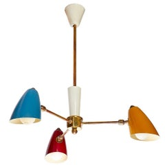 Italian Tricolor Enamelled Aluminium and Brass Chandelier