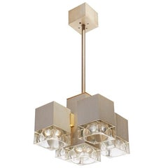 Italian Brushed Steel and Glass Five Light Cubic Chandelier by Gaetano Sciola