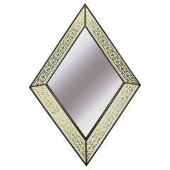 Églomisé French Art Deco Diamond Form Mirror