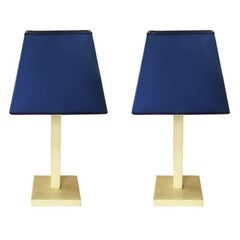 Pair of Table Lamps in Parchment Designed by Michel Leo, Made in Italy