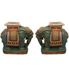 Pair of Hand Enameled Glazed Elephant Motif Garden Seats