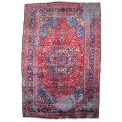 Vintage Hand-Knotted Wool Persian Mahal Rug