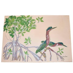 Red Heron Screen Print on Canvas
