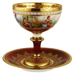 Dresden Ambrosius Lamm Painted Footed Cup and Saucer Gilt Romantic