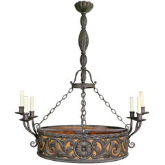 Arts & Crafts Wrought Iron Chandelier