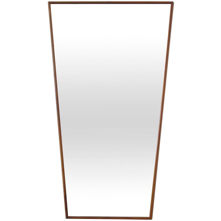 Trapezoid Walnut Mirror