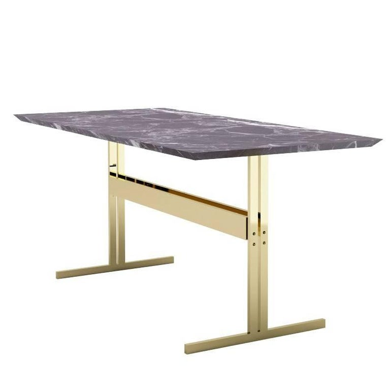 Modern Dining Table In Black Marble With Brass Finish