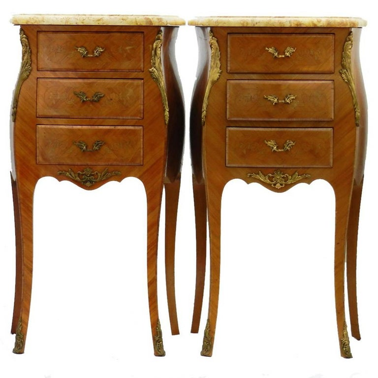 Pair of Side Cabinets Tulipwood French Louis Style Bedside Tables Nightstands