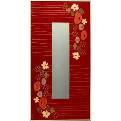 1970s Floral Pop Art Framed Mirror in Resin