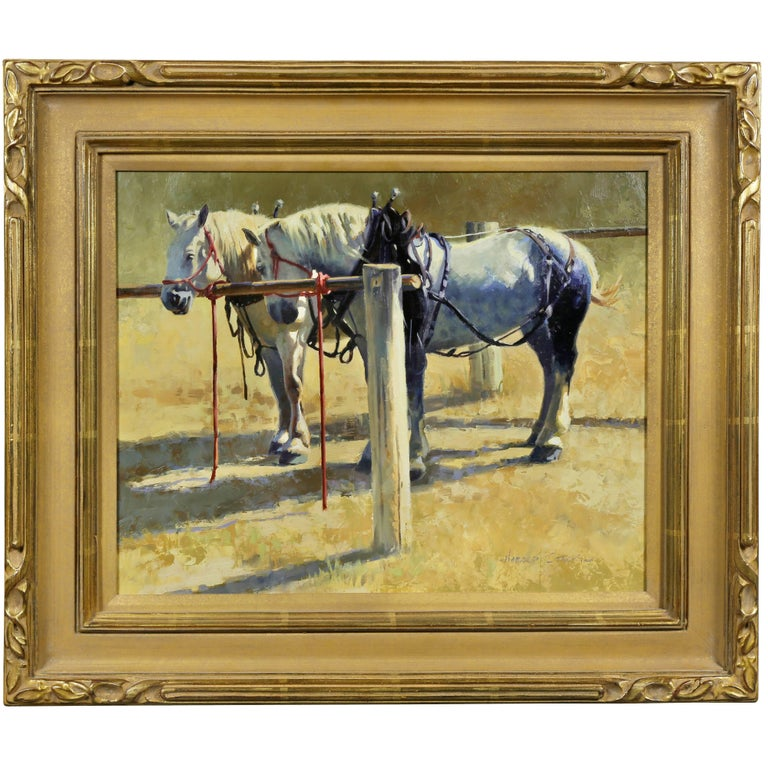Oil on Panel of Two Ponies by Harold Stack