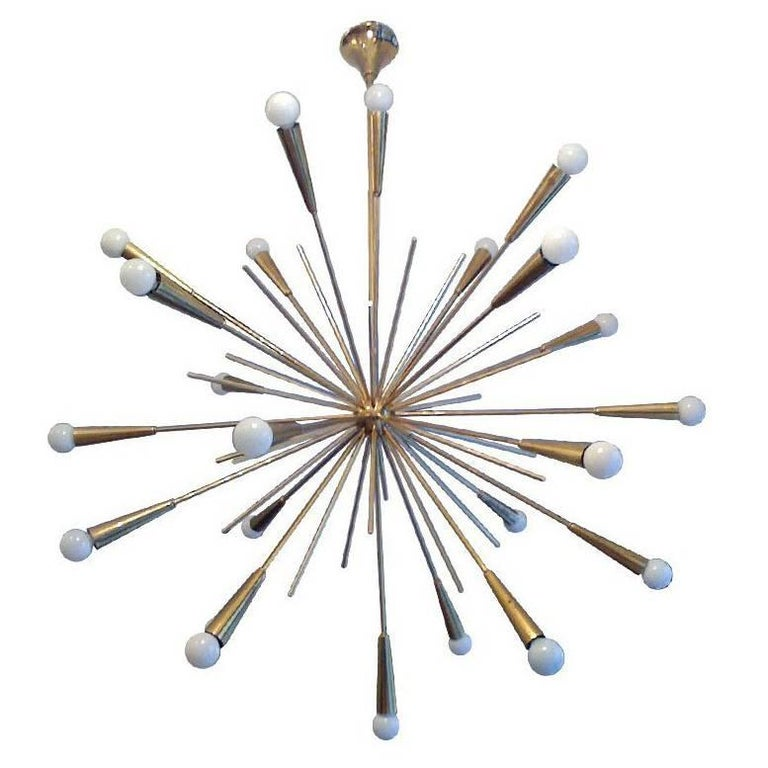 Large 1960s Italian Midcentury Brass Starburst Sputnik Chandeliers