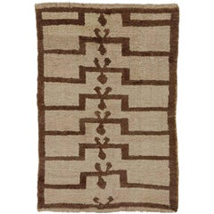 20th Century Tulu Prayer Hand-Knotted Rug by Wool Grey and Brown Turkish