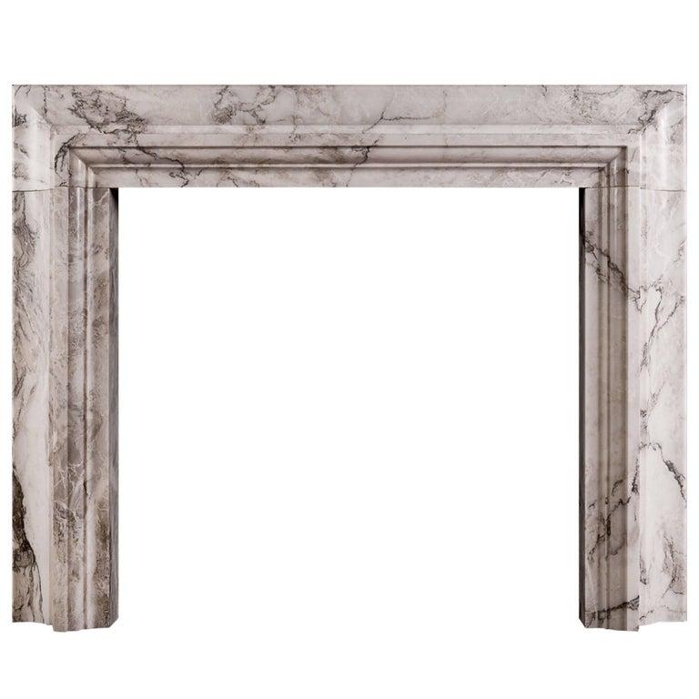 Stylish Italian Fireplace in Arabescato Marble