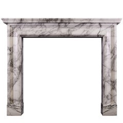 English Moulded Fireplace in Arabescato Marble