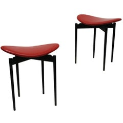 """Set of Two """"Lutrario"""" Stools Designed by Carlo Mollino, Italy, 1959"""