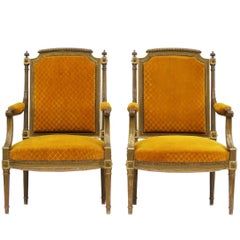 Pair of French Giltwood Open Armchairs 20th Century Louis XVI Revival to Recover