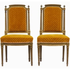 Pair of French Giltwood Side Chairs 20th Century Louis XVI Revival to Recover