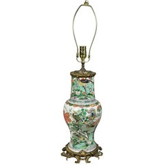 Chinese Famille Verte and Ormolu Mounted Lamp