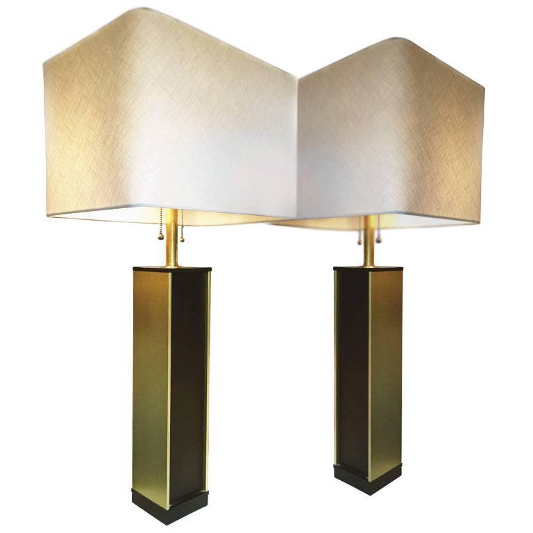 1960s Lightolier Column Lamps, Pair